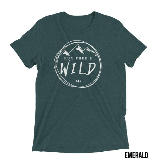 Running shirt | Trail Running |  Run Free & Wild Mountains Triblend T-shirt |Gift for Runners | Running Shirts | Trail Runner