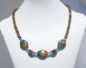 Lampworked glass, tigereye and Swarovski crystal necklace