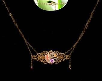 """""""Time ornament"""" refined Steampunk necklace"""