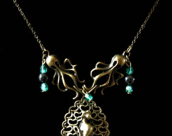 """""""Abyss"""" Octopus and seahorse Turquoise necklace"""