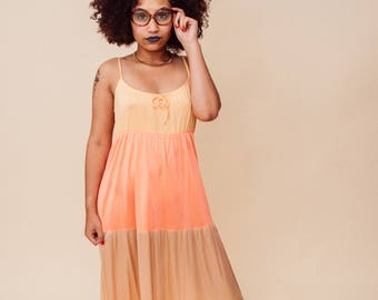 70s Vintage Peach Coral Beige Colorblock Tier Full Length Maxi Dress