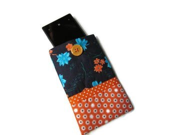 case, cover, Pocket for cell phone, blue and orange fleece flowers