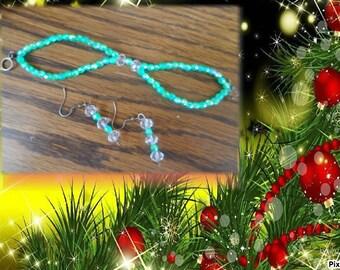 Earrings and bracelet set Crystal beads
