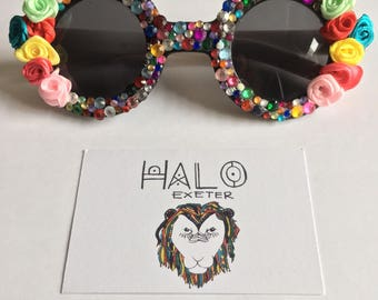 Round gem and flower embellished sunglasses. Multicoloured shades for festivals and fancy dress