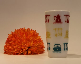 Hazel Atlas Kitchen Aids Tumbler - Milk Glass Tumbler - Mod Kitchen Glass - Vintage Kitchen Drinking Glass