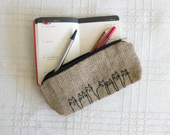 Free Shipping - Eco-friendly Burlap Cat Pencil Case with Embroidery