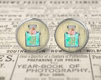 Chanel Inspired Monogram Glass Stud Earrings, Monogrammed Jewelry,  Personalized Earrings, Initial Earrings, Perfume Stud Earrings