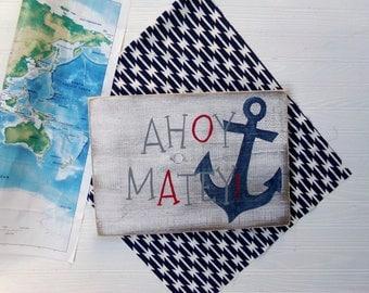 Ahoy Matey Wood Sign, Nautical Nursery Decor, Ocean Themed Decor, Pirate Sign, Pool Sign, Nautical Bedroom Decor, Ocean Themed Bathroom