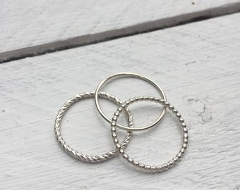 Set of 3 Textured Stacking Rings