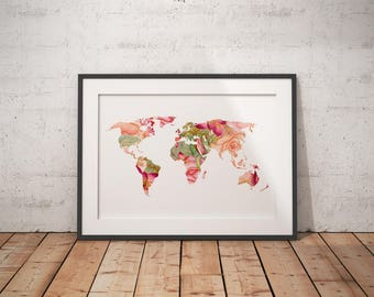 World Map Print | World Map, World Poster, Floral World Art, World Wall Art, World Wall Art, Digital Download, World Map Poster, Floral Map