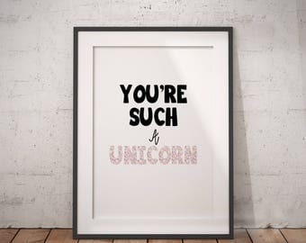 Unicorn Quote | Unicorn Printable, Unicorn PDF, Unicorn Wall Art, Unicorn Decor, Animal Print, Immediate Download, Printable Poster