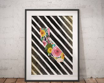 California Print | California Map, California Poster, Floral State Art, California Wall Art, Immediate Download, Printable Poster