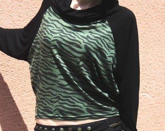 Zebra Sport Sweat - Coton - GREEN PURPLE GREY - Hood - Yoga - Travel - Boho - Gypsy - Ethnic - Trance - Pixies - Fairy - Design - Original