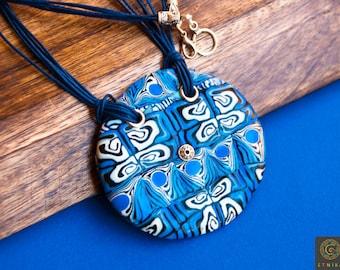 Blue Large Round Pendant Polymer Clay Jewelry Mosaic Necklace Boho Pendant Marine Necklace Unique Woman Gift Huge Pendant Statement Pendant