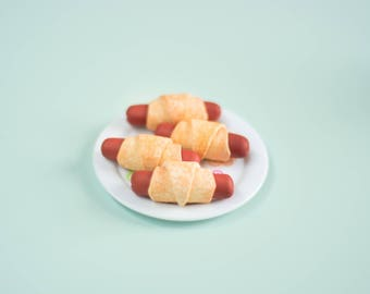 Pigs in a Blanket Set of 4 - Perfect for the 4th of July - Handmade Polymer Clay Food for 18 Inch Dolls like American Girl