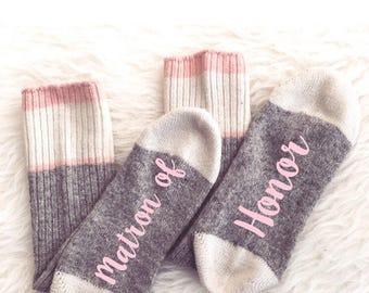 Bridesmaid Socks, Wedding Favors, Bridal Party Socks Custom Socks Bride Box Wedding Gift Bridesmaid Gift Present Customized Maid Of Honor