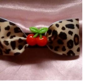 Atomic cherry bombshell hairbow pinup psychobilly rockabilly punk cheetah cabochon