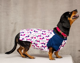 Dog Top with Cute Dachshunt Print  - Dog Clothing - Pet Clothes - Available to Any Breed - Dachshund
