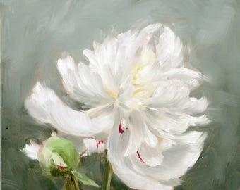White Peony oil painting. Flower Painting. Original art.