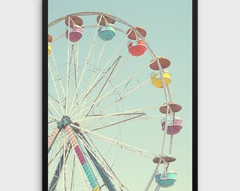 Ferris Wheel Printable Art, Nursery Decor,Nursery Art,Retro Art,Pastel Art,Colorful Art,Teal Art,Aqua Art,Carnival Print,Nursery Printables