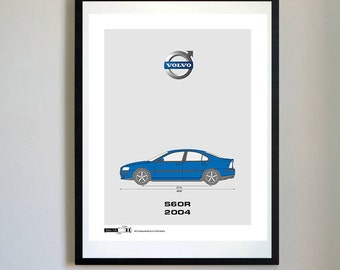 Volvo S60R (2004) - Minimalist Volvo Artwork, Blueprint Patent Prints Posters, Volvo Decor, Art, Car Art, Cars (#242)