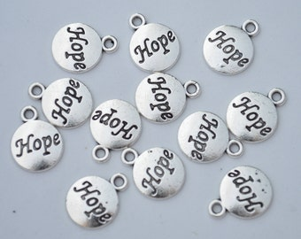 12 Pcs Hope Charms Antique Silver Tone 12x16mm - YD0873