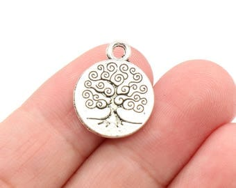 Bulk 30 Pcs Tree Charms Tree of Life Charms Antique Silver Charm 2 Sided 19x15mm - YD0760