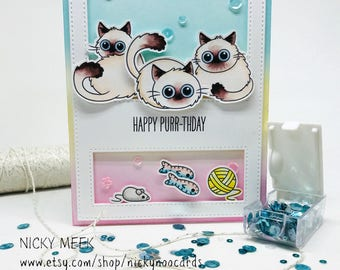 Handmade Birthday Card - Cat Theme