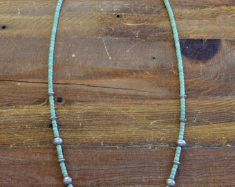 Navajo Sterling Silver Green Turquoise Necklace