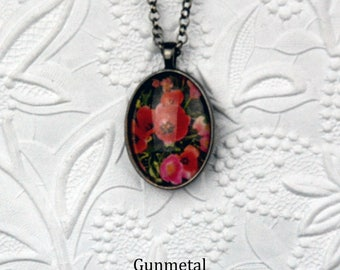 Pink and Red Tulip Photo Necklace with Oval Pendant finished in Your Choice