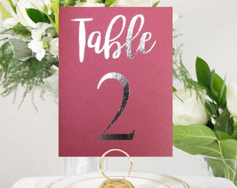 Shimmer Maroon and Silver Foil Table Numbers Handmade Wedding Style #0102