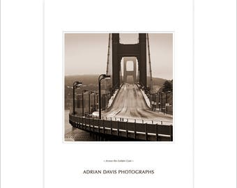 Photography poster print, Golden Gate Bridge Poster, Black and White Photography, sepia prints, small posters, office photo art, sepia