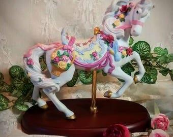 Lenox Rose Prancer Carousel Horse from 1993 – Vintage Handpainted Porcelain figurine