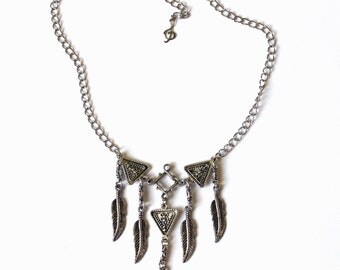 Silver Feather Necklace, Ethnic Necklace, Bohemian Necklace, Tribal Necklace, Gypsy Necklace, Kuchi Banjara Necklace, Afghan Nomad Necklace