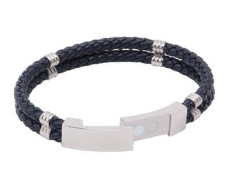 Genuine Braided Leather  Bracelet with Steel Magnetic Clasp -SH-712 - Navy Blue