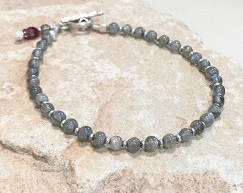 Labradorite bracelet, garnet bracelet, Hill Tribe silver bracelet, gemstone bracelet, gift for her, boho bracelet, sundance style bracelet