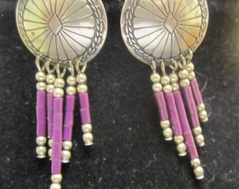 VTG .925 Sterling Silver Handcrafted Earrings weighs approximately 5 grams Concho Southwestern style