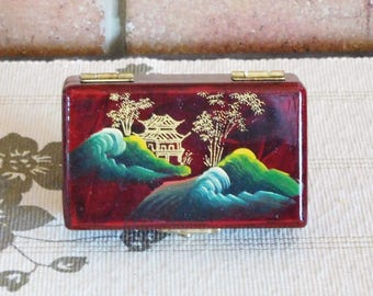Japanese lacquer red silk lined small box, brass closure, handpainted rural mountain scene, vintage 1960s