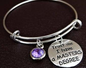 Trust me i have a Masters Degree Bracelet, Masters Degree Bangle, Masters Degree Jewelry, Masters Degree Graduation, Masters Degree Gift