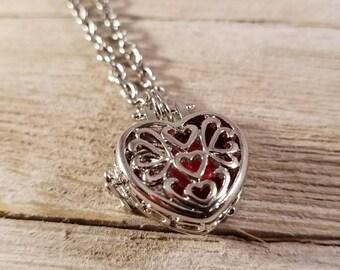 Heart Locket Pendant Necklace