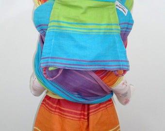 READY TO SHIP - Wrap conversion Nyia (narrow podaegi) - Little frog Agate Natur, rainbow, turquoise, yellow
