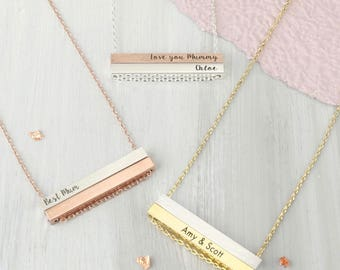 Personalised Double Horizontal Bar Necklace