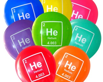 Mad Science Party Helium Element Balloons - Pack of 8 | Geeky Periodic Table Birthday Decorations | Student Professor Teacher Scientist