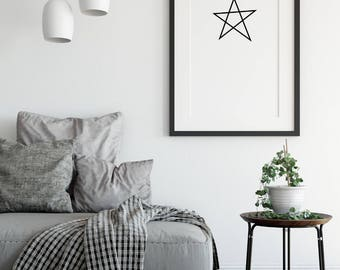 Star wall decor, black and white download, black and white decor, Star printable, Star for home, Printable art, Nordic print, Nordic art