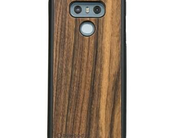 LG G6 - Rosewood Santos -  Wood Case - Real Wooden Case - Black Bumper