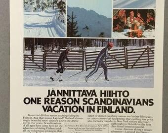 1981 Finnair Print Ad - Vintage Airline Ad - Jannittava Hiihto