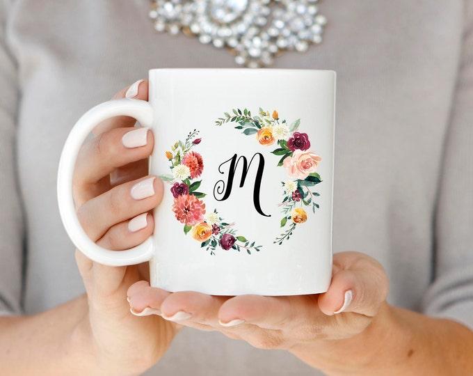Monogram Mug, Floral Monogram Mug, Initial Mug, Monogram Coffee Mug, Custom Monogram Mug, Marsala Mug, Personalized Gift, Floral Mug