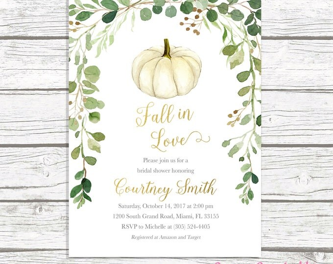 Fall in Love Bridal Shower Invitation, Pumpkin Bridal Shower Invitation, Rustic Chic Bridal Shower, Green Leaves Bridal Shower Invite