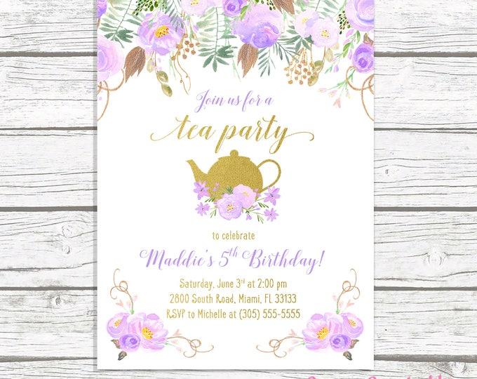 Tea Party Birthday Invitation, Tea Party Invitation, Lavender Birthday Invitation Purple, Girl 1st First Birthday Party Invitation Tea