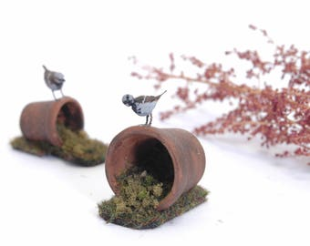 Sparrow on Plant Pot - 1/12th dollshouse miniature garden bird